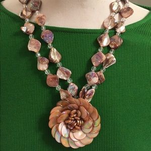 Beautiful Beige and Brown Statement Necklace NWOT